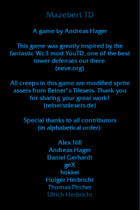 The credits of the game.
