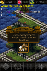 Quest for creating your first card dust.